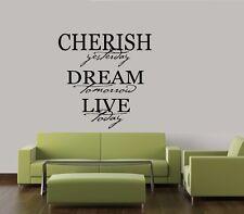CHERISH DREAM LIVE WALL QUOTE DECAL STICKER VINYL HOME