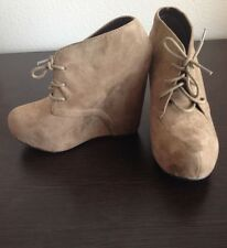 Lace Suede Beige Wedges SODA size 7 - HOT!  (Sale Price) FREE SHIPPING