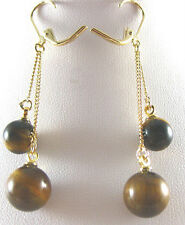 Gold Plated Link Clasp Hook Earrings Real Tiger's Eye Tigereye Opal Beads