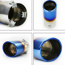 Universal Neo Chrome Stainless Steel ROUND Straight Car Exhaust Pipe Tip Cover