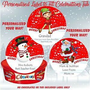 Personalised Chocolate LABEL ONLY fits Celebrations Tub Christmas Elf,Santa Snow