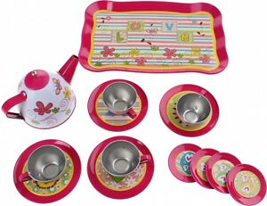 GIRLS 14PC STEEL FLOWER TEAPOT SET TRAY SAUCEPAN CUP TEA PARTY PLAYSET ROLE PLAY
