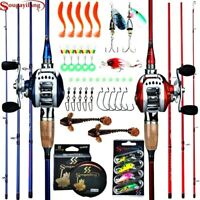 Fiber Casting Rod 11BB Baitcasting Reel Fishing Tackle Set. Red, Right Hand