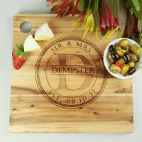 DELUXE Custom Engraved 30cm Acacia Wooden Board Wedding Engagement Anniversary