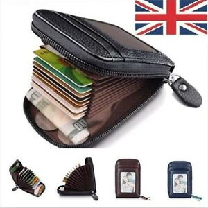 Mens RFID BLOCKING Real Leather Wallet Credit Card Holder Coin Purse UK