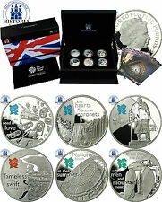 UK 6 x 5 Pounds 2009/ 2010 Olympic Games London 2012 Sterling Silver Proof Set
