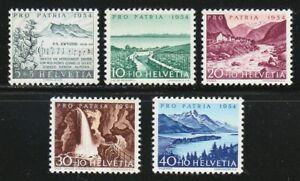 Switzerland 1954 MNH Mi 597-601 Sc B232-B236 Alberik Zwyssig, composer.Views