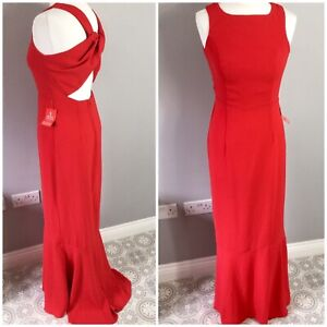 BNWT Asos Rich Red Crossover Cut Out Back Long Maxi Fishtail Dress UK 10 Evening