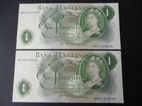 1970 PAIR J B PAGE REPLACEMENT £1 NOTES UNCIRCULATED WITH PINHOLES DUGGLBY B323