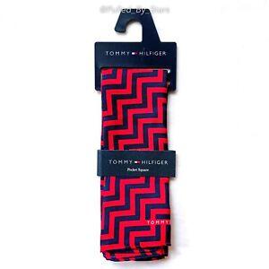 "NWT TOMMY HILFIGER Navy Blue & Red Chevron 100% Silk Pocket Square 13.5"" x 13.5"""