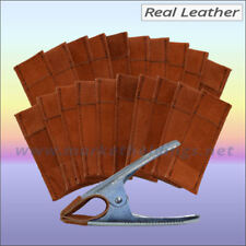 20 Leather Spring Clamp Sleeves Jaw Covers For 6 Inch Market Stall Clips - Brown