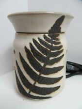 Scentsy Wax Warmer Brown Embossed Leaf Imprint No Box with Bulb Leaves