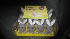 FAB BNIP 12 X FLUFFY GREY EASTER BUNNIES FOR EASTER CRAFTS, EGGS, CAKES .. .
