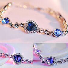 Newly Women Ocean Blue Crystal Rhinestone Heart Bangle Bracelet Gift Design