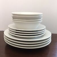 "IKEA 218 78 White Dinnerware Set of 4 Dinner Plates 9 3/8"" Salad Plates & Bowls"