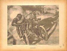Poilus Bikers Motocyclistes Moto outrider Motards Peint par Camoreyt  1914 WWI