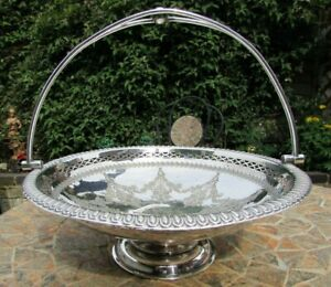 Victorian EPNS Large Round Fruit Bowl with Handle by G.E.H. -Good Cond 4 Age.