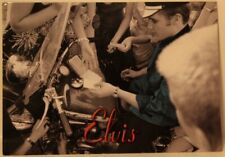 Young Elvis Presley signing autographs Black & White with Green Shirt POSTCARD