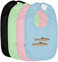 Infant Baby Bib Cotton Hook & Loop Closure Baby Shower Gift Rainbow Trout Fish