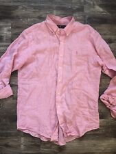 Men's Ralph Lauren Blue Label Pink Linen Button Down Shirt XL T Big & Tall