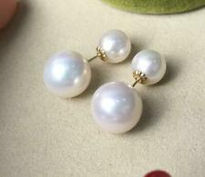 gorgeous 6-12mm south sea round white pearl earring 18k solid gold