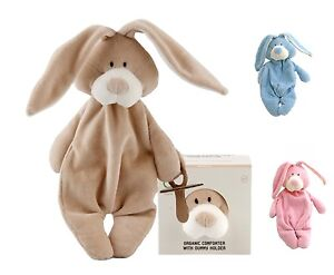 Wooly Organic Cute Bunny Baby Comforter with Pacifier Holder - Washable, Organic