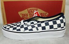 New Vans Authentic Slim Check Board Washed Canvas Blue Cream White Shoe Womens 5