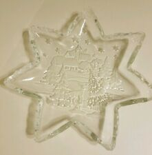 "Mikasa Christmas Carol 13"" Frosted Star Glass Server Serving Plate Platter Tray"