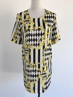 Mossman Size 10 Black & White Striped Checkered Graphic Short Sleeve Shift Dress