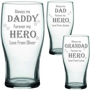 Personalised Engraved PINT Glass FATHERS DAY DAD GRANDAD DADDY HERO FATHER'S DAY