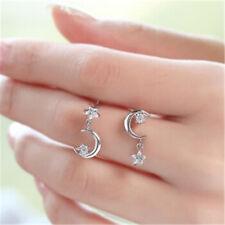 Retro Asymmetric Earrings Moon Star Ear Stud Fashion Ornament Present Jewelry CF