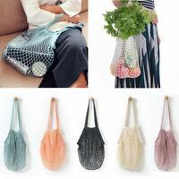 Reusable Fruit String Grocery Shopper Cotton Tote Mesh Woven Net Shoulder Bag Dw