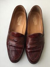 Johnston and Murphy Cellini Slip ons Croc print 10 M Brown penny Loafers italy