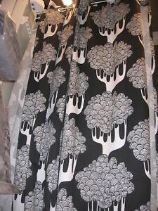 IKEA Kajsamia CURTAINS Drapes BLUE 0r Black WHITE Tribal Tree GROMMET EYELET TOP