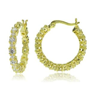 Gold Tone over Sterling Silver Round Cubic Zirconia 22mm Hoop Earrings