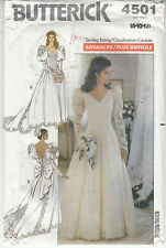 Wedding Gown Train Lace Sleeves V Neck Butterick Sewing Pattern 4501 Uncut 8-12