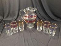 Vintage MCM Gold Rim Pitcher & 6 Drinking Juice Glasses Set Red Yellow Purple