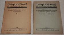 Der Hitler-Prozeß Teil I + II Knorr & Hirth München 1924 Original-Broschüren