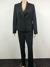 Womens Size M 12 2 Piece Fully Lined Le Suit Jacket Blazer Pants Black Pinstripe