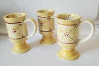 Temptations by Tara Old World Yellow Pedestal Footed Coffee Cups  SET OF Three