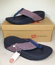 FitFlop Surfa Women's Size 8 Midnight Navy Mix Knit Toe Post Sandals XS-547