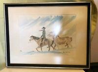 RARE Original Roy Hampton Western Cowboy Horse Watercolor Western Artist Framed