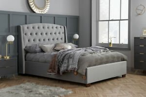 5FT King Size Button Backed Winged Headboard Velvet Bed In Grey Bed Frame Only