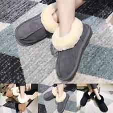 Womens Mens Winter Warm Slippers Natural Sheepskin Fur Lined Warm Wool Shoes New