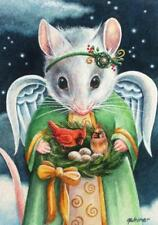 ACEO Limited Edition Print Christmas Angel Mice Mouse Cardinal Bird by J. Weiner