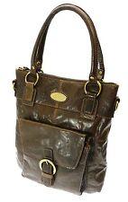 Genuine Top Quality Brown Cowhide Leather Twin Handle Zip Top Bag