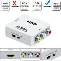 Composite AV RCA to HDMI Video Audio Converter Adapter 720p 1080p Upscaler CVBS