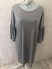 Primark Grey Ribbed Flared Bell Sleeves Dress Size 16
