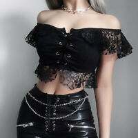 Womens Summer Tops Gothic Solid Lace Bandage Short Sleeve Short Tops Blouse