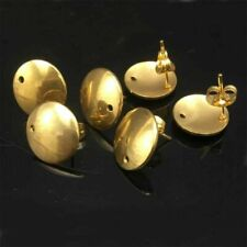 Gold Plated Stainless Steel Ear Post Stud Earring Findings Round Flat 10pcs/lot